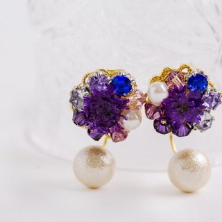 Elegant Earrings dry Flower (Blue)