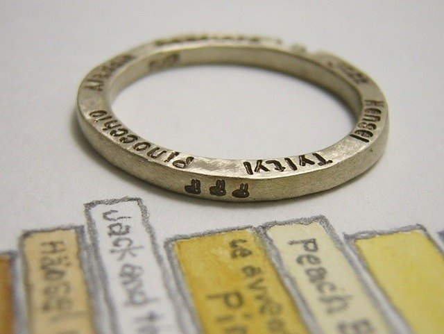 taleteller ( mille-feuille ) ( engraved stamped message silver jewelry ring 物语 故事 本事 幸福 福气 造化 刻印 雕刻 銀 戒指 指环 )