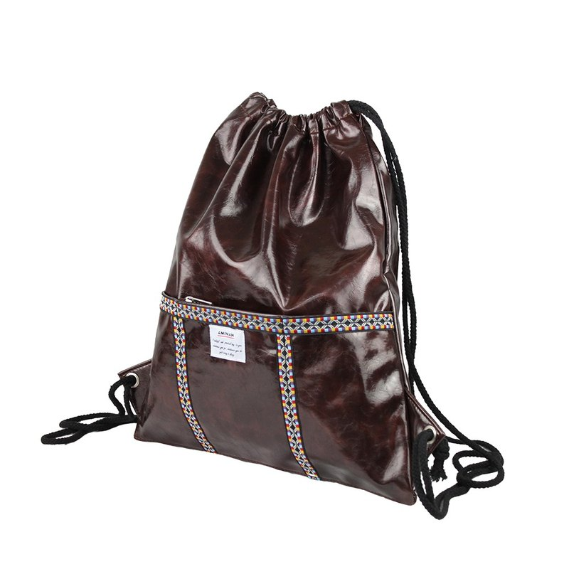AMINAH-coffee totem braided leather beam backpack [am-0295]