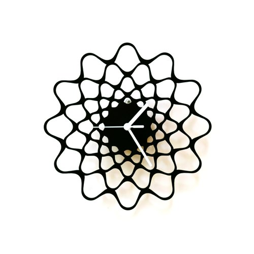 Embroidery black - contemporary modern wall clock made of wood