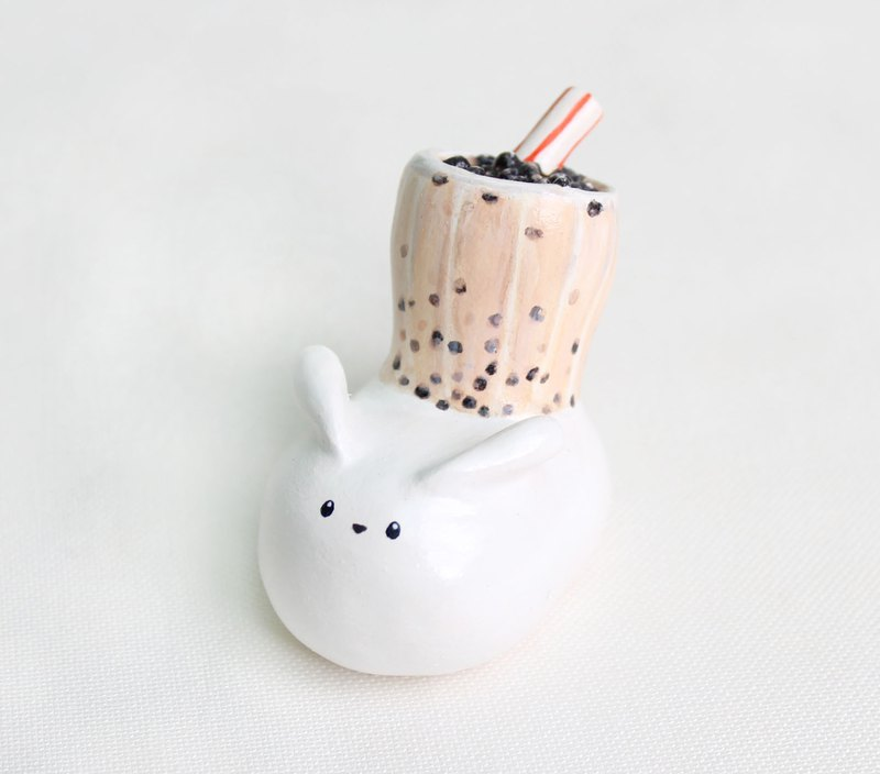 珍珠 奶茶 兔子 公仔/ 手繪/ 台灣 美食 /擺設 /紙鎮