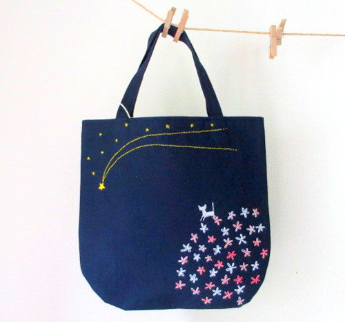 Silver cat and shooting star * handbag pink