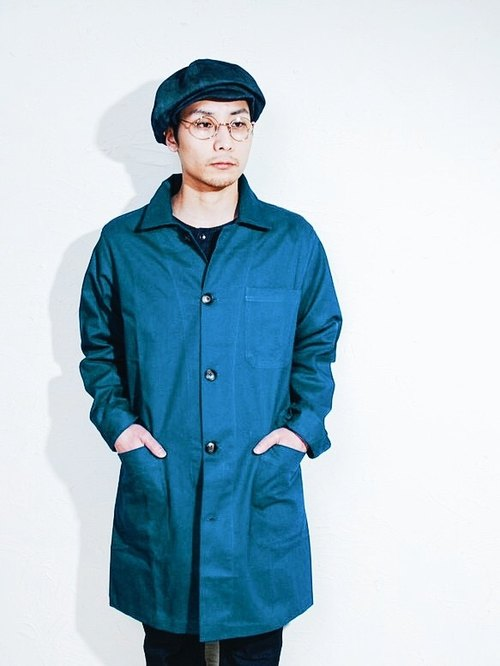 Omake military strap gown coat / blue