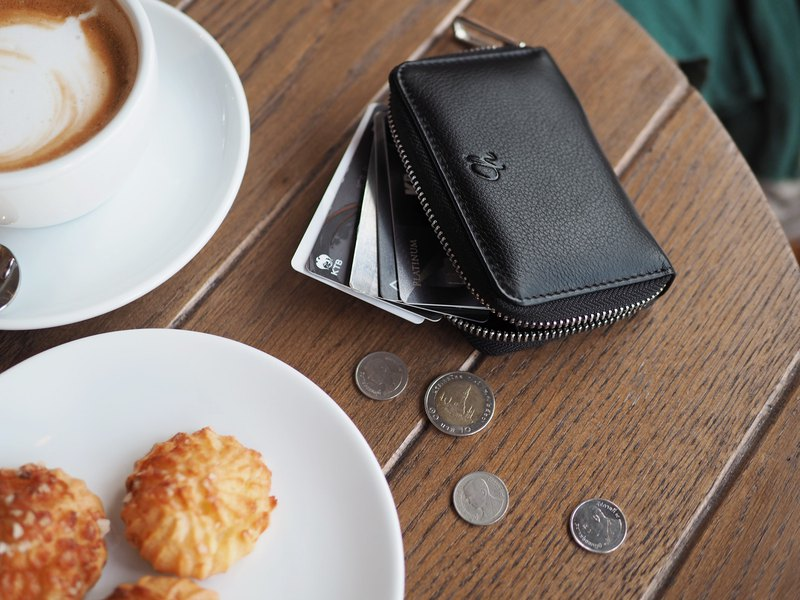 Classic coin (Black) Mini wallet, Leather wallet, mini zip wallet