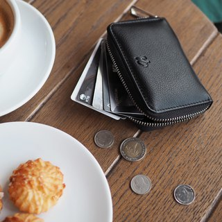 Classic coin (Burgundy) Mini wallet, Leather wallet, mini zip wallet