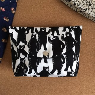 say hello black bear animal cosmetic bag pencil bag storage bag camera bag men