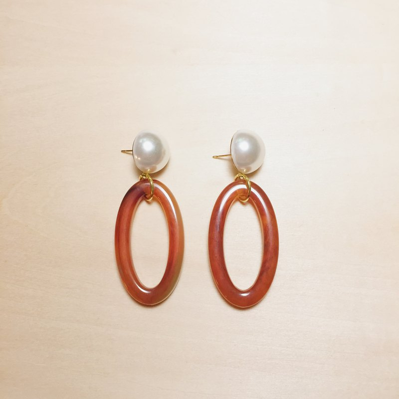Vintage Pearl Amber Large Elliptical Earrings