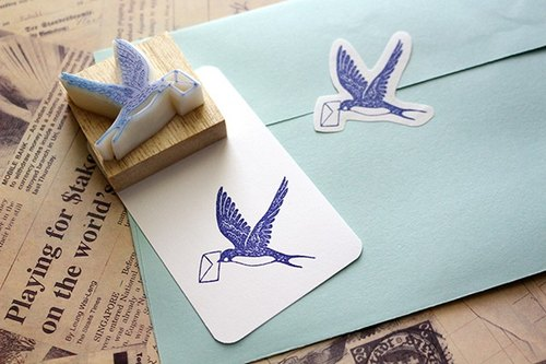 Apu handmade rubber stamp swallow chapter title letter
