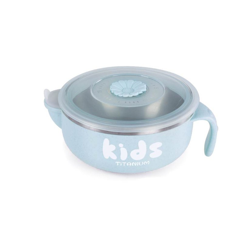 [Pure Titanium Welfare Product] Water-filled Insulation Cold Bowl 400ml-Blue-Slightly Defective