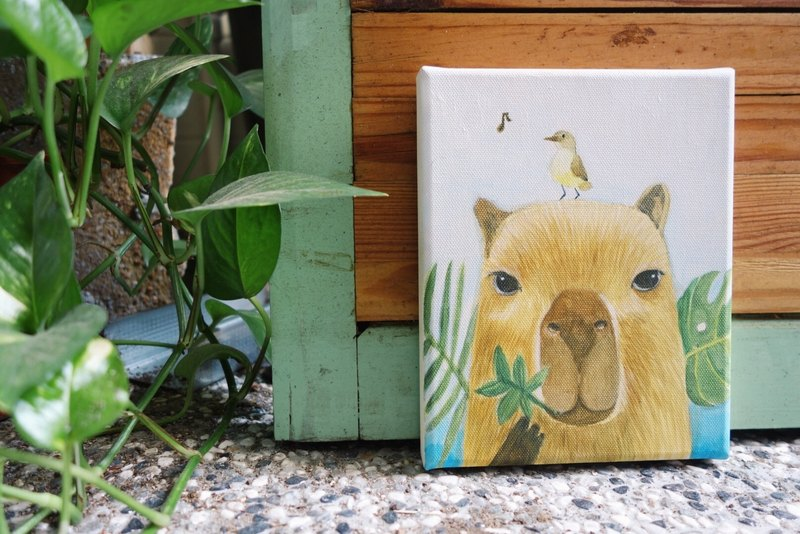 Small Picture Frame Original Painting Mr. Capybara / With His Friends-Animals Daily Series