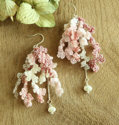 Pink Piecemeal Flowers Earring Hand-Crocheted SV925 Valentine'sdayGift