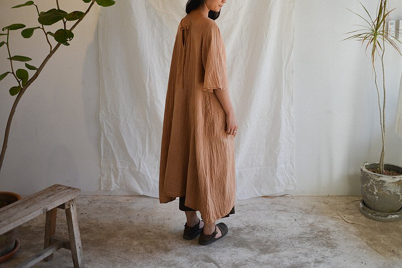 Clochette Dress | Natural Wood BROWN cotton