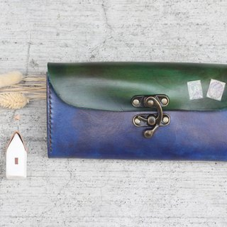 Accordion vegetable tanned leather long wallet - Lisbon story -Royal blue
