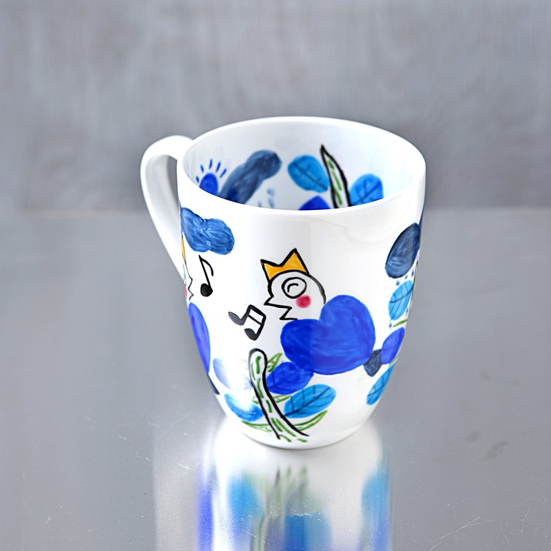 Blue Heart Bird Mug Cup L. Bone China