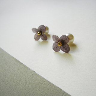 *coucoubird*smoke purple hydrangea earrings (pearl ear plug)
