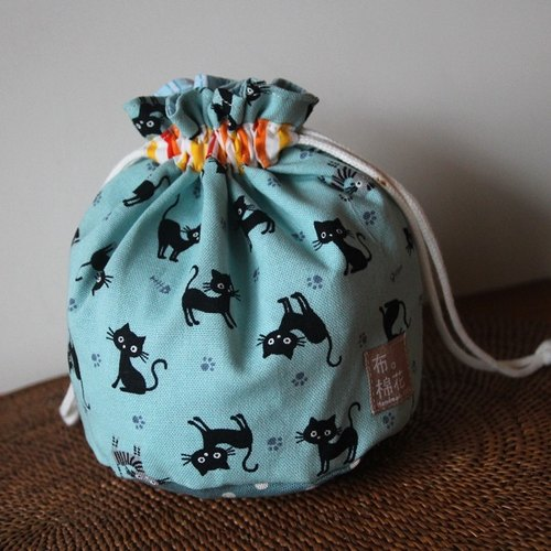 Cotton Fabric: Bunched bag, Storage bag, Toiletry Bag, Makeup Pouch, Cosmetic Pouch, Cosmetic Bag, Tiffany Blue, black cat