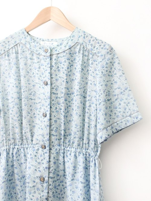 【RE1004D1472】 early autumn Japanese system retro floral gray blue short-sleeved ancient dress