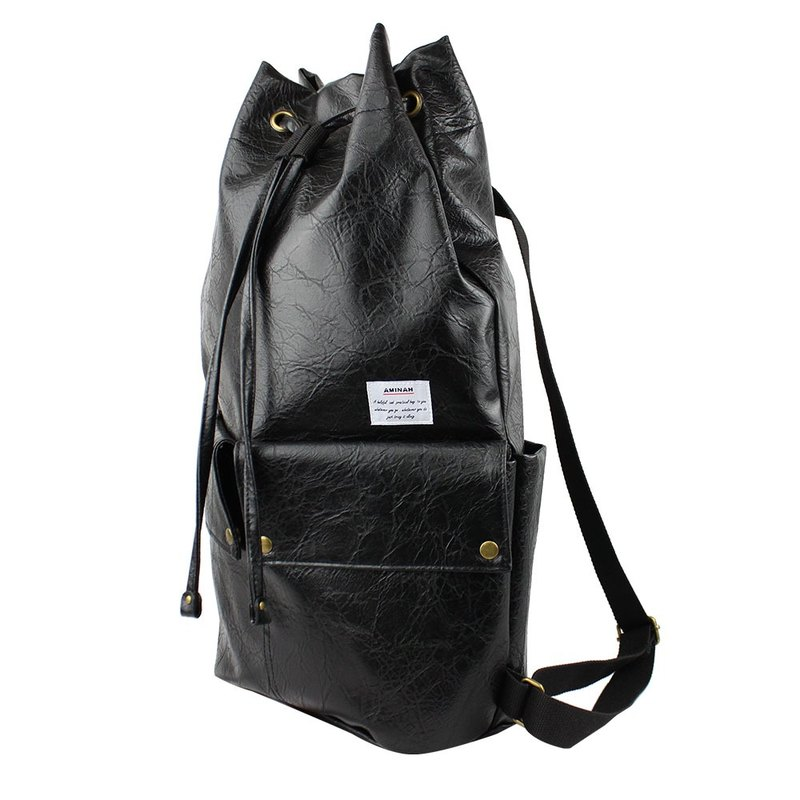 AMINAH-black beam back backpack [am-0293]