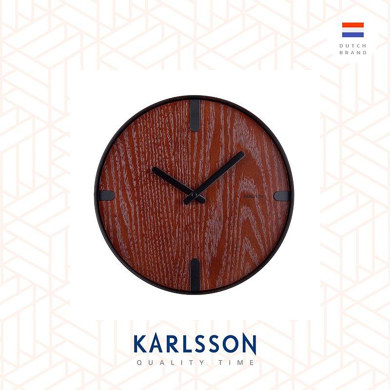 荷蘭Karlsson Wall clock Dashed walnut wood black胡桃木面掛鐘