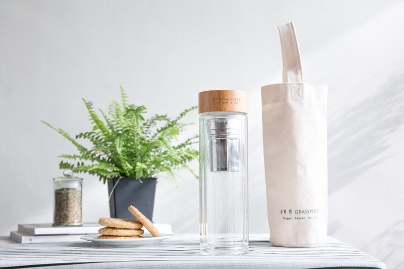 ❖ Small grass for ❖ Peripheral goods | Double glass cup (with environmental protection canvas bag)