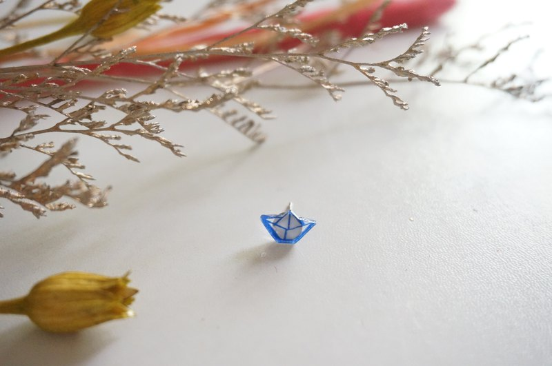 Hand-painted earrings - childhood paper boat / pair