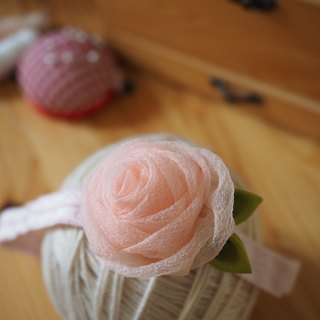 Handmade Pink Fabric Rose baby/ kid headband and hairclip set