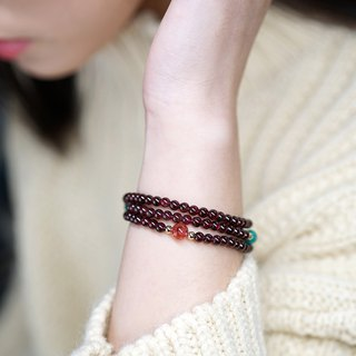 Refining peach bracelet VISHI original natural Sri Lanka wine red garnet single circle multi-ring beads
