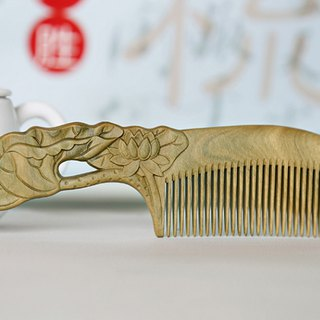 Natural hand-carved lotus green sandalwood comb