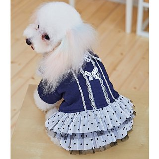 Pet clothes lace collar point skirt (blue)