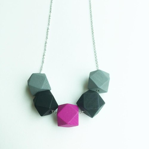 Gray and red geometric wooden bead necklace jewelry original handmade necklace rhodium-plated copper chain Beads Ball Black Grey Pink Necklace Free Shipping