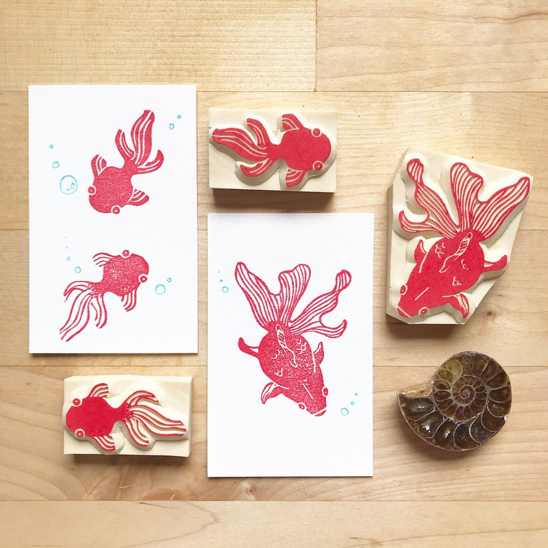 【Workshops】Handmade Experience Activity Hand Engraved Rubber Stamp - Goldfish Blowing Bubbles