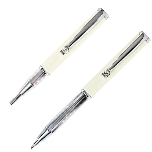 ARTEX Elegant Stretch Ball Pen Bright Silver/White Tube