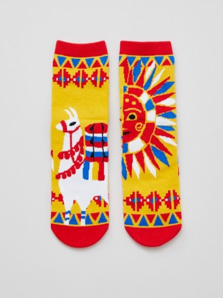 [Pre-order] Mexican skull and sun alpaca socks 24CM CISP4104