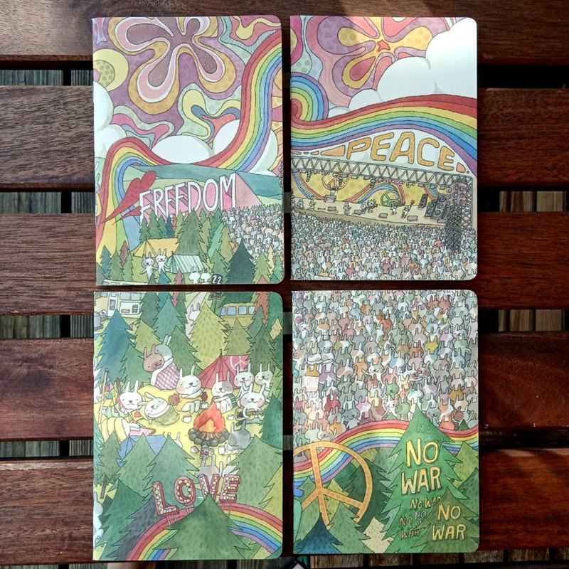 A6 notebook rabbit music festival four in one