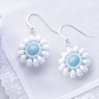 Beaded white flower earrings, white wedding jewelry, for her, 375