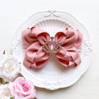 Elegant Mercerized Crown Bow Hair Clip
