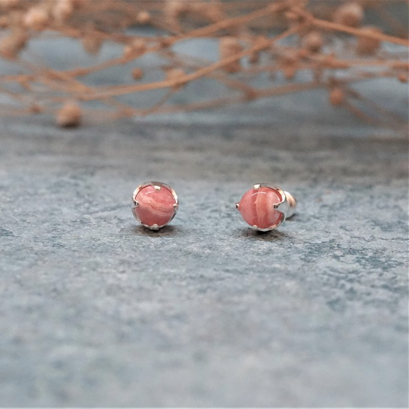 Natural ore ear needles-Rhodochrosite — Cupid 925 sterling silver ear needles