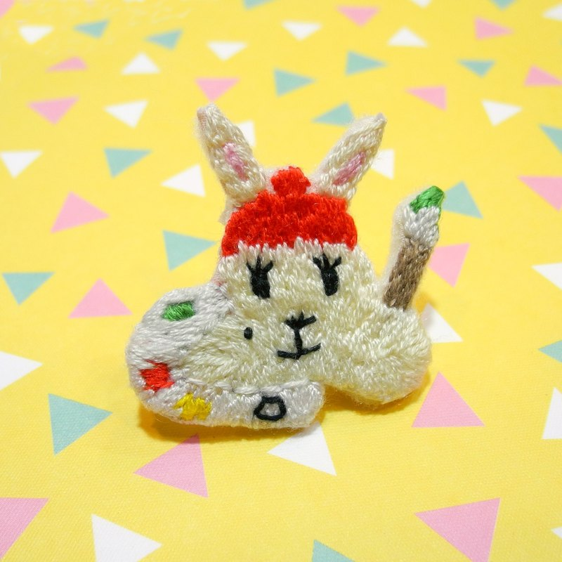 Forest Department embroidery painting rabbit brooch pin hand embroidery