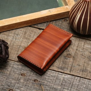 Retro wood grain brush dyed yak leather handmade business card holder