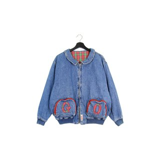 Back to Green Playful GO Scottish Color Double Pocket Zipper Vintage Denim Jacket
