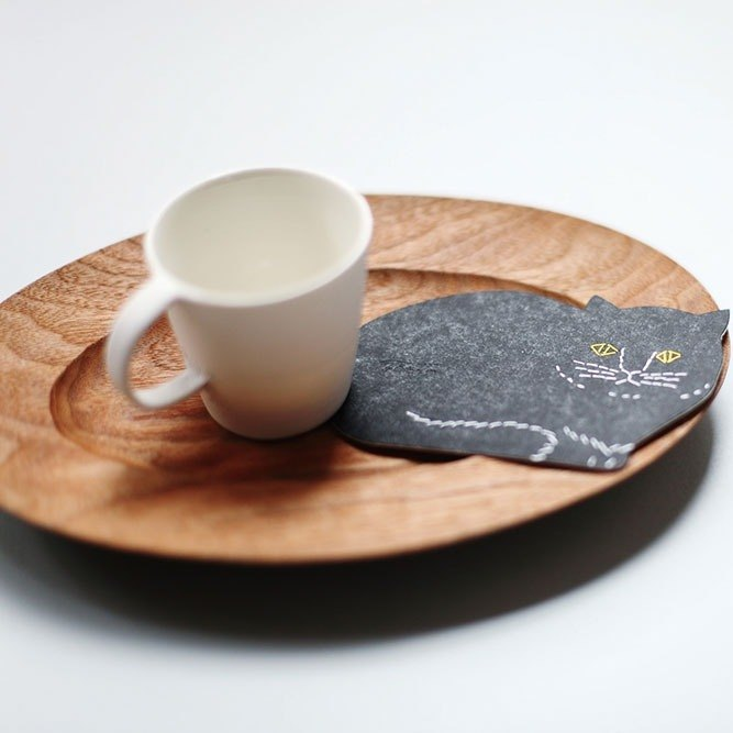 Classiky x Tomotake Letterpress Cat Coaster【Die-cut (22101-01)】