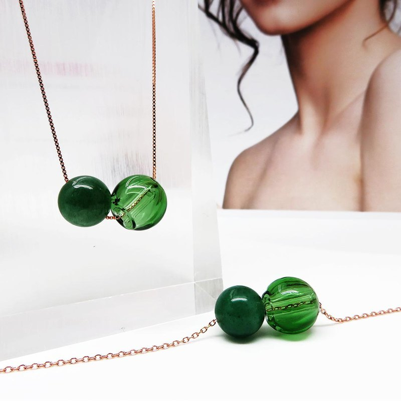 Aventurine May Rose Gold S925 Diffuser Necklace Bracelet