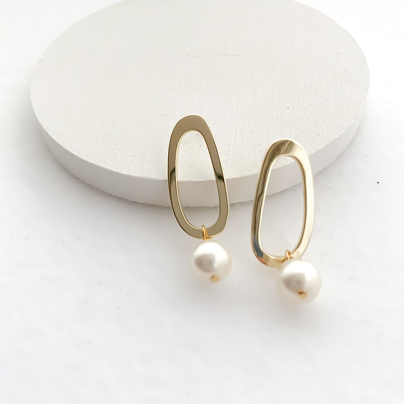 oval circle shell pearl pierces/nohole 椭圆形 珍珠色 耳環 耳环