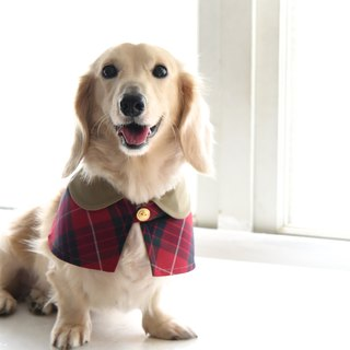 Handmade Tartan / Plaid Pet British Cape - Rose Red - Dog/ Cat/ Rabbit【ZAZAZOO】