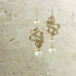 Antique gold vine pearl earrings
