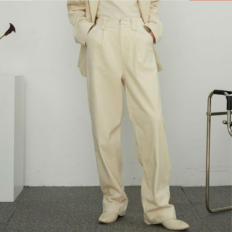 Cream white winter must enter three-color stitching print waist washed down corduroy straight cotton trousers