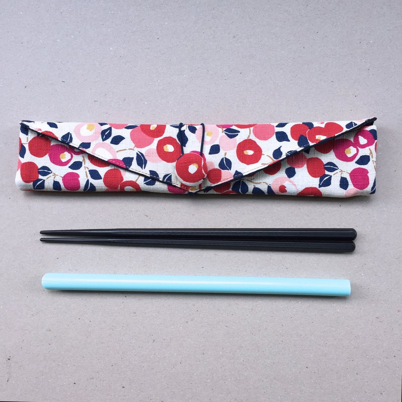 Adoubao-Chopsticks set with bag straw bag - powder & wind flower