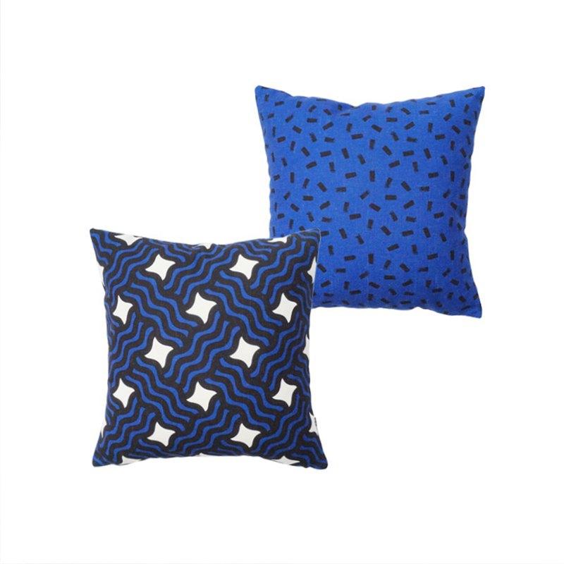 草稿CIAOGAO 北歐ins美式幾何排列藍色AB款簡約沙發靠墊抱枕套