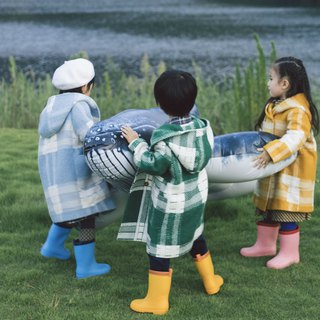 Four-color red blue green yellow giant good-looking wool coat double-breasted hooded plaid candy color children's jacket