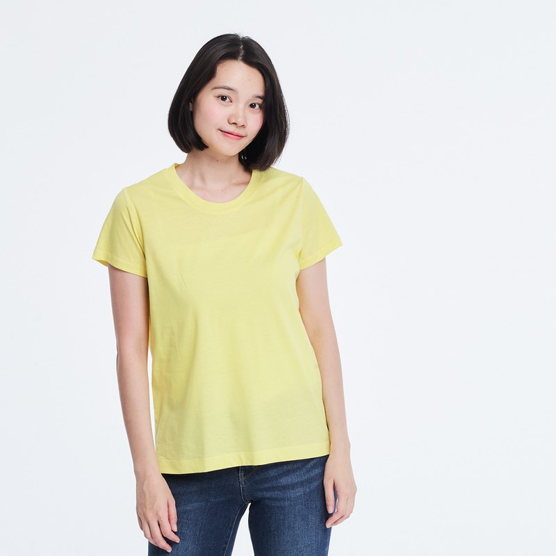 Mercerized Cotton Fabric Short Sleeves crew neck T-shirt Top Yellow